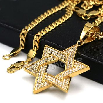 316L Stainless Steel Star of David Blinged Out Pendant w/ 4mm Miami Cuban Chain (Gold and Silver)