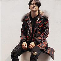 Men Cotton Padded Hooded Jackets with Fur Jaqueta Masculina Men's Casual Slim Fit Camouflage Jackets Hombre BL