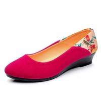 Floral Print Wedge Heel Suede Slip On Office Lady Casual Shoes