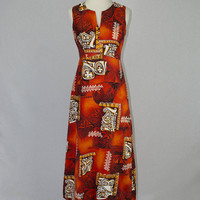 Vintage 1960s Hawaiian Dress Orange Sundress Tapa Print Polynesian Bazaar