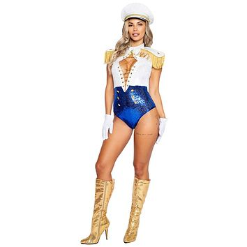 Sexy Welcome Aboard Pilot White and Blue Sequin Costume