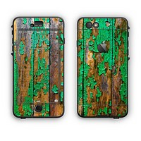 The Chipped Bright Green Wood Apple iPhone 6 Plus LifeProof Nuud Case Skin Set