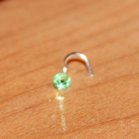 Large Peridot Crystal Nose Stud Ring, Cartilage Stud, tragus cartilage Stud, Tiny Gold Nose Ring, Tiny Nose Ring, Nose Jewelry