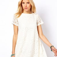 Lace Embroidered Loose A-Line Mini Dress