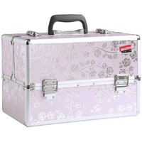 "Beautify Professional Aluminum Large 14"" Beauty Cosmetics & Makeup Train Case (Pink Rose)"