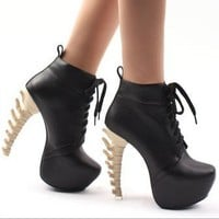 Sexy Womens Special High Bone Looks Heels Platform Round Toe Boots Shoes