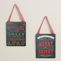 Chalkboard Christmas Message Signs, Set of 2