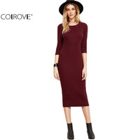 COLROVE European Style Womens Dresses New Arrival Woman's Fashion Fall Designer Dress Women Burgundy 3/4 Sleeve Pencil Dress