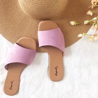 Island Girl Slide Sandals in Lilac