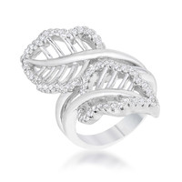 Lina Leaf Wrap Contemporary Fashion  Ring | 1ct | Cubic Zirconia | Silver