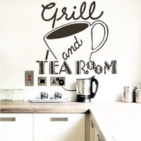 Wall Vinyl Sticker Decal Cup Grill and Tea Room Cafe Kitchen Room Nice Picture Decor Mural Hall Wall Ki622