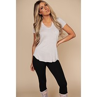 In Full Swing Basic V Neck Top (Grey Chime)