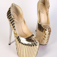 Women Gold Shinny High Heels stilettos best wedding shoes