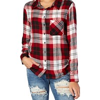 Plaid Challis Boyfriend Button Down