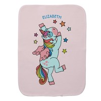 Cute Dancing Unicorn With Wings And Stars Baby Burp Cloth