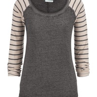 Striped Sleeve Scoop Neck Pullover - Black/Gray