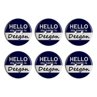 Deegan Hello My Name Is Plastic Resin Button Set of 6