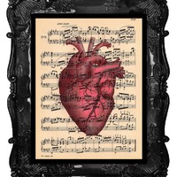 OUR ORIGINAL DESIGN Vintage Red Heart Print 2 on by BlackBaroque