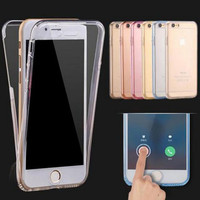 Fashion Ultrathin Clear Transparent TPU Silicone Flexible Soft Cover Case For Apple iPhone 7 6 6s Plus / 5S SE Full Protect Phone Case+Nice gift box