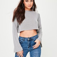 Missguided - Grey Flare Sleeve Cropped Knitted Jumper