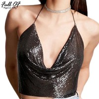 2017 Sexy Metal Chain Sequins Nightclub Summer Crop Top Women Black Tops Backless V-neck Beach Party Club Tank Top