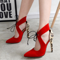 Women Fashion Multicolor Leopard Shallow Mouth Hollow Sandals Pointed Top Heels Shoes