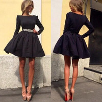 Sexy Cocktail Dresses Long Sleeve Prom Dress Eveing Dresses Elegant Party Gown