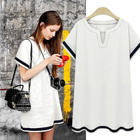 Short-Sleeve V-Neck Tunic Dress