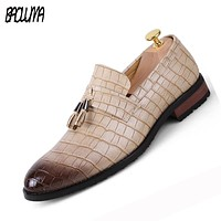 Pointed Toe Formal Shoes Man Pu Leather Oxfords Spring Men Italy Dress Shoes Business Wedding Shoes For Male Large Sizes