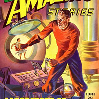 Vintage Sci Fi Poster Amazing Stories - Earth Stealers