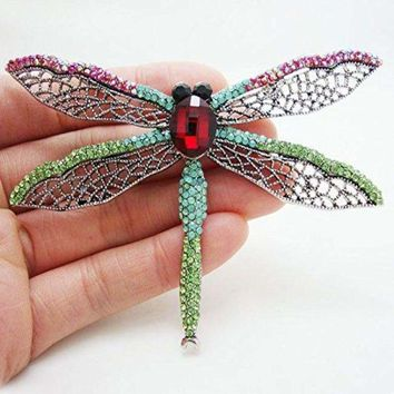 Beautiful Dragonfly Insect Multi-color Crystal Brooch Pin Pendant
