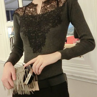 V Neck Long Sleeve Cut Out Lace Design Knitwear