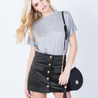 Buttoned Corduroy Mini Skirt
