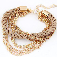 Gold Plated Rope Chain Bracelet For Girl 6 Colors Women Fashion Jewelry