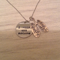 Respiratory therapist necklace with lungs and handstamped disc, i help you breathe, RT, medical