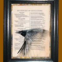 Flying Black Raven -- Vintage Dictionary Book Page Art - Upcycled Page Art - Collage Wall Art - Mixed Media Art