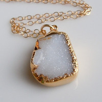 White Druzy Necklace in Gold Small Size by 443Jewelry on Etsy