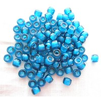 Fifty 6mm Czech Capri Blue glass pony roller beads, large hole crow beads, C4450