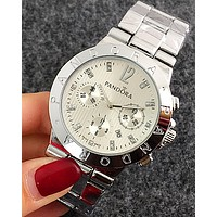 Pandora tide brand trendy fashion quartz watch F-Fushida-8899 Silver watchband + silver case + silver dial