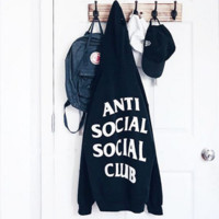 Anti social social club Fashion Hot Long Sleeve Sweater Hoodie Black