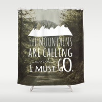The Mountains Shower Curtain by Samantha Ranlet