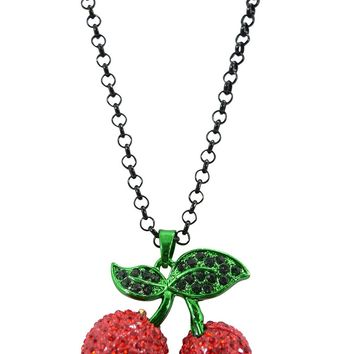 Rockabilly Tattoo Girl Sparkling Red Cherry Pendant Necklace