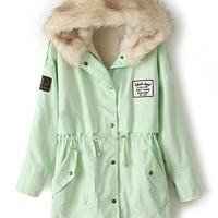 Mint Green Fur Hooded Zipper Embellished Fleece Inside Military Coat | CozBest:lastest womens fashion clothing,shoes,dresses shop online