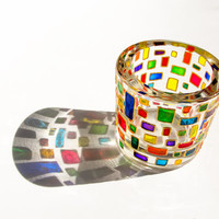 Small Glass Candle Holders, Painted Multicolor Candle Golder, Mosaic Glass
