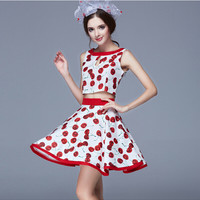 Red Cherry Graphic Two Piece Dress
