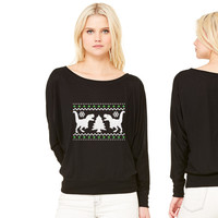 Funny Ugly Christmas T-Rex Sweater women's long sleeve tee
