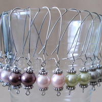 Colored Pearl & Silver Long Dangle Earrings, Handmade, Simple Elegance, Classic Style, Sophisticated, Fashion Jewelry, Weddings, Bridesmaid