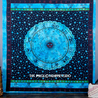 Astrology Hippie Tapestries, Indian Zodiac Tapestry Bed Spread, Bohemian Tapestry Wall Hanging, Boho Dorm Tapestry Throw, Wall Tapestries