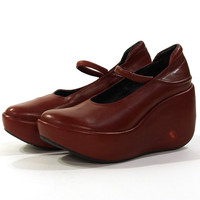 90s Wedge Platform Mary Janes in Red Leather / Women's Size 38 / 8