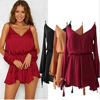 Fashion sexy deep V-neck solid color piece of summer women's new summer romper
